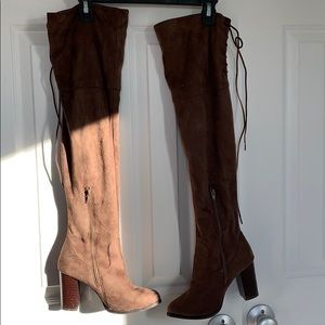 Brown suede over the knee boots size 6